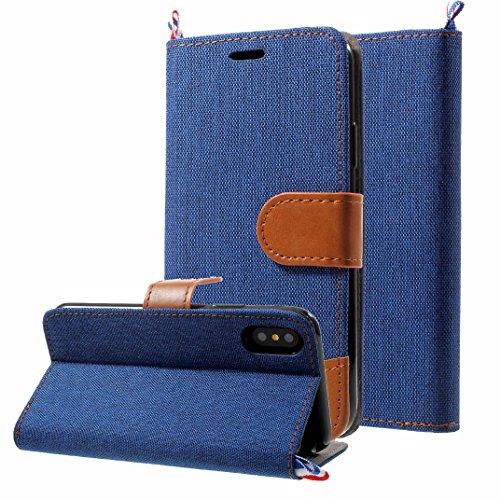 Handy Etui Schutz Hülle für Apple iPhone X 10 5.8 Zoll | JEANS Design mit Kartenfach und Magnet SCHWARZ | Flip Case TPU Wallet Cover Klapphülle Ständer Blau