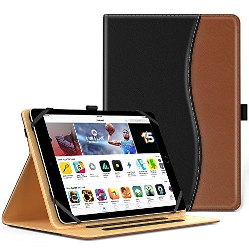 MoKo Hülle für 9 - 10 Zoll Tablet - Kunstleder Ständer Tasche Schutzhülle Smart Case Cover für ipad 2/3/4, ipad 9.7 2017, Google Nexus 9 8.9, lenovo Tab 2 A10-70, iPad Air, Schwarz/Braun