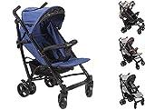 Clamaro 'CityGO 2018' leichter 8 kg kompakt Buggy mit Liegefunktion, klein zusammenklappbar, flüsterleise Reifen (Schaumgummi), Rückenlehne stufenlos verstellbar bis Liegeposition, 5-Punkt Sicherheitsgurt, Bügel entfernbar, Sonnendach mit Sichtfenster - Farbe: Blau/Schwarz