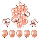 Rose Gold Balloons Party Dekorationen - Packung mit 14, Sterne Herz Folie Mylar Ballons große Rose Gold Party Supplies für Engagement, Hochzeiten, Proms, Baby-Dusche mit 36 Fuß Ballons String