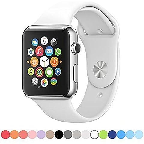 Apple Seguir Repuesto de Banda -Soft deportiva de silicona Pulseras Correas para Apple reloj de pulsera de IWatch Todos los modelos formales Colores S / M Tamaño (42mm, White)