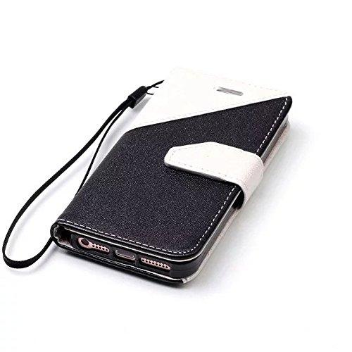 Etsue Handytasche für iPhone 7 4.7 Zoll 2016 Brieftasche Hülle,iPhone 7 4.7 Zoll 2016 Frosted Lederhülle Lanyard Handyhülle Einzigartig Flip Hülle Mischfarben Book Buch-Stil Leder Schutzhülle Vintage  schwarz + Weiß