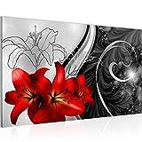 Bild Blumen Lilien Wandbild Vlies - Leinwand Bilder XXL Format Wandbilder Wohnzimmer Wohnung Deko Kunstdrucke Rot Grau 1 Teilig - MADE IN GERMANY - Fertig zum Aufhängen 208414c