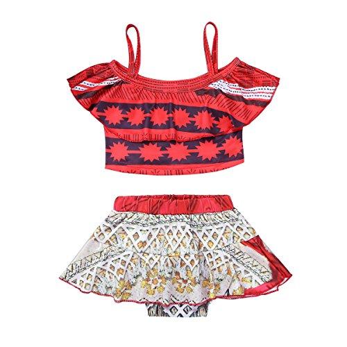 iiniim Little Girls Princess Moana Swim Dress Adventure Outfit Kids Swimsuit Tankini Swimwear Swimming Costumes