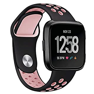 Star Supermarket For Fitbit Versa Strap, ANGGO Silicone Adjustable Replacement Soft Sport Wristband watchband for Fitbit Versa Smart Watch (Black - Pink)