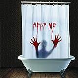 Duschvorhang Halloween Vorhang blutverschmiert 'Help Me' Badezimmerdeko Horrorparty Gruseldeko Badezimmer gruselige Baddekoration Party Deko Dekoration