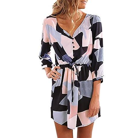 Petalum Damen Tunika Herbst Elegant Casual Lang Ärmel V-Kragen Knopfleiste High Waist Blusenkleid Minikleid