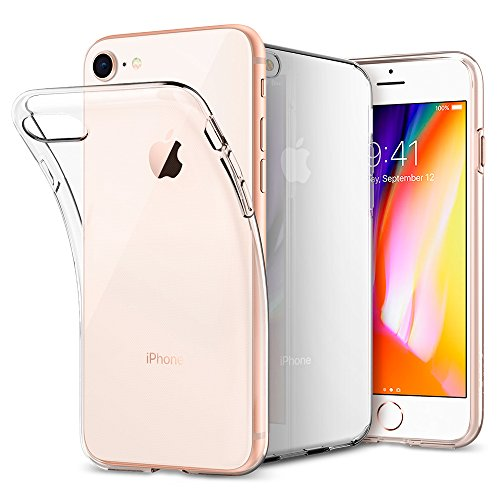 iPhone 8 / 7 Hülle, Spigen [Liquid Crystal] iPhone 8 Hülle, Soft Flex Silikon [Crystal Clear] Transparent Schlank Bumper-Style Handyhülle Kratzfest TPU Durchsichtige Schutzhülle für Apple iPhone 7 Hülle / iPhone 8 Case Cover - Crystal Clear (042CS20435)