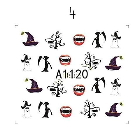 BENHAI 1PC Halloween Wasser Nagel Nagel Aufkleber Schädel Schädel Kürbis Geist Festival Festival Ghost Transfer Paste Lustige Nail Sticker (Gruppe Von Vier Kostüme)