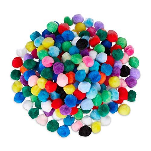 Relaxdays Pompons, kleine Bommeln zum Basteln, 200er Mini Pom Pom Set, Deko für Geburtstag & Hochzeit, D: 2 cm, bunt (Damen Kinderleicht Kostüm)