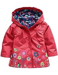 Amurleopard Blouson veste manteau fille a capuche floral impermeable