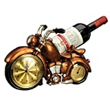 LL-COEUR Motorisierte Dreirad Weinflaschenhalter Dekoration Weinregal Kreative Weinständer Handwerk Wein-Rahmen Weihnachten mit Uhr und Thermometer