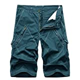 AYG Herren Cargo Shorts Bermudas Schwarz Baumwolle Shorts(lake blue,38)