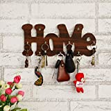 "JaipurCrafts""Home"" Designer Wooden Key Holder (30.48 cm x 13 cm x 0.4 cm, Brown)- 7 Hooks"