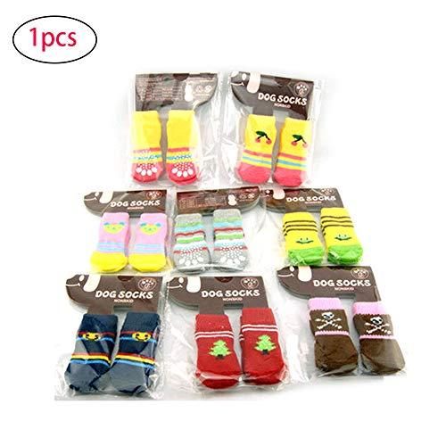 ken Einstellbare atmungsaktiv Anti-Rutsch-Haustier-Socken für den Schutz von Paws (Farbe Random) M ()