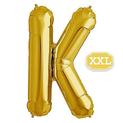 XXL Folienballon Buchstaben Gold [ ca.100cm ] , Buchstaben ballon für Geburtstag Jubiläum & Party Geschenk Dekoration Folienballons Luftballons Zahl ballon Happy Hochzeit Birthday [ A ~ Z ] (GOLD[K])