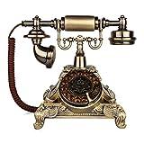 Corded Telephone Schnurgebundenes Telefon - Retro-Festnetz-Plattenspieler Dial Mechanical Electronic Doppel-Klingelton Blitzschutz und Anti-Interferenz-Festtelefon für Home Office Hotel