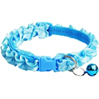 1PC Lovely Lace Dog Collar Leash with Bells Cute Solid Wave Pattern Collar for Dogs Cats Decor Durable Pet Supplies