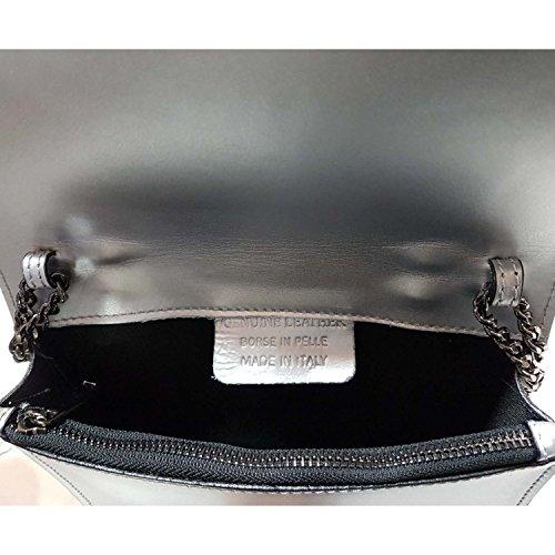 Glamexx24 Borsa vera Palle da Donna a mano , con elegante chiusura Casual Borsetta a tracolla, elegante Clutch Made in Italy 1.014 1.014.1