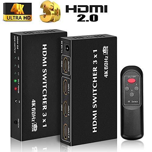 HDMI Switch 2.0 - HDMI Umschalter 3 in 1 Out 4K@60Hz 3D Verteiler 3 Port Ultra HD 2160P Unterstützt HDR HDCP 2.2 Splitter mit IR Fernbedienung HDMI Switcher für PC DVD Xbox PS3/4 HDTV Hdtv Splitter
