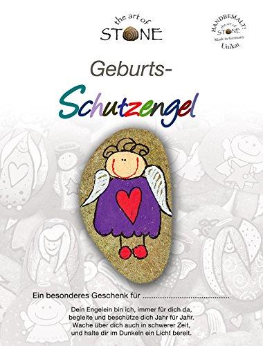 The Art of Stone Geburts Schutzengel - Unikat Naturstein handbemalt Geschenkidee Handschmeichler Mutmacher Trostspender und Glücksbringer