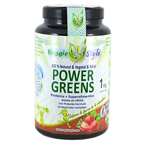Power Greens, proteínas veganas + superalimentos (maca, chrorella, spirulina, moringa, bayas goji.) (Vainilla)