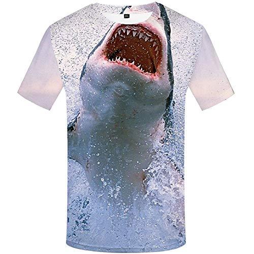 Ocean Tropical 3D Print T-Shirt Animal Anime Costume Casual Trend Street Cool Short Sleeve Shark Print Short Sleeve (Street Sharks Kostüm)