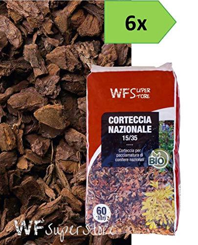 wueffe s.r.l. corteccia nazionale 15/35-6 sacchi da 60 lt. - pacciamatura giardino