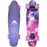 Apollo Fancy Skateboard, Vintage Mini Cruiser, Komplettboard, 22.5inch (57,15 cm), Mini-Board mit Holz Oder Kunstsoff Deck mit und Ohne LED Wheels