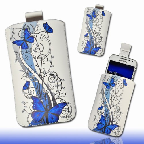 Handy Tasche Hülle Case weiß / blau Butterfly DK3 Gr.4 für Samsung Galaxy S3 i9300 / Samsung Galaxy S III i9300 / Samsung Galaxy S4 i9500 / HTC One XL / HTC One X / HTC Velocity 4G / HTC Sensation XL / HTC Titan / LG Optimus True HD P936 / LG Optimus 4X HD P880 / Motorola RAZR Maxx