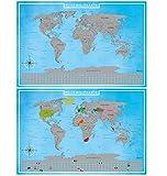 blupalu I 2er Set Rubbel Weltkarte I Weltkarte zum Rubbeln XXL I Silber I mit Flaggen und Rubbel-Chip I World Map Poster I 89 x 59 cm | Deutsch