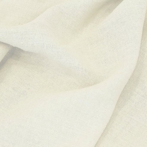 TOLKO Leinen-Stoff Meterware zum Nähen, blickdichter Naturstoff für Bekleidung, Gewänder, Vorhänge und Deko (Woll-Weiß)