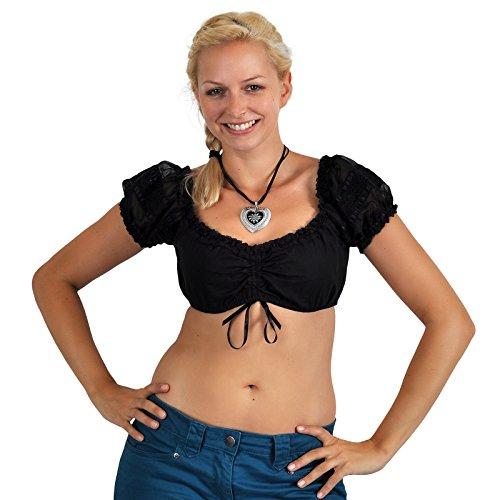 Wiesn Dirndl Blusentop Trachtenbluse mit transparenten Ärmeln Spitze Carmenausschnitt schwarz - L (Ausgestattet Damen-kittel)
