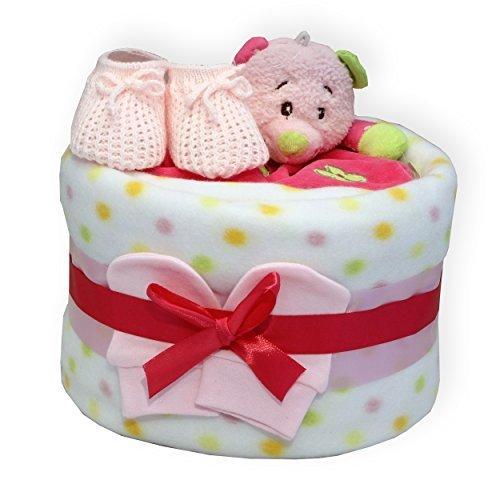 Baby Jungen Mädchen Windel Torte enthält Bär Tröster Spielzeug Baby Geschenk Babyparty Mutterschaft Leave Geschenk weiß rosa blau - Rosa -