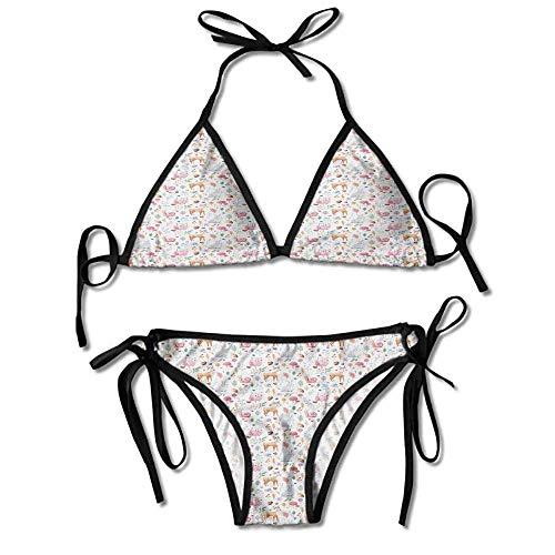 Women's Printing Bikini,Owl and Rabbit Watercolor Sexy Bikini 2 Pieces -