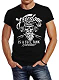 Neverless Herren T-Shirt Biker Motorrad Motiv Freedom is a Full Tank Skull Totenkopf Slim Fit schwarz L