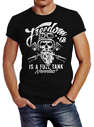 Neverless Herren T-Shirt Biker Motorrad Motiv Freedom is a Full Tank Skull Totenkopf Slim Fit schwarz L