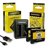 PATONA 2in1 Dual Caricabatteria + 2x Batteria AHDBT-401 per GoPro HD HERO 4 Black Silver Edition con mini USB Cavo