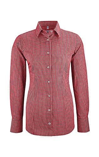 GREIFF Damen-Bluse mit Langem Arm | New Kent Kragen | Regular Fit | Breite 2-Knopfmanschette | Farbe: Vichy Karo Rot | Größe: 34