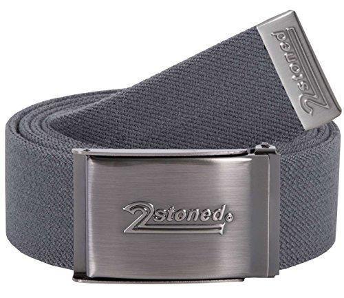 2Stoned Stretch-Gürtel elastisch Klappschnalle Speed, Grau, One Size, 120cm - 140cm Dehnbar, für Damen und Herren
