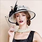 Unbekannt FEI Bowler Hüte für Frauen Europa elegante edle Hut Leinen Original Design Haar Zubehör (schwarz und weiß)