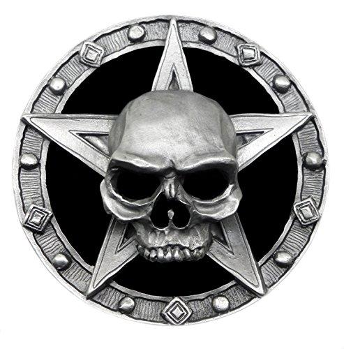 Schädel Gürtelschnalle - Bereuen Schädel & Pentagramm in Schwarz - Schwer & Komplett in 3D - Authentische Pagan Buckles Markenprodukt (Pentagramm-gürtelschnalle)