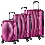 WOLTU RK4213pk, Reise Koffer Trolley Hartschale 4 Rollen Volumen erweiterbar, Reisekoffer Hartschalenkoffer Handgepäck, M/L/XL/Set, leicht und günstig, Pink 3er Set (M+L+XL)