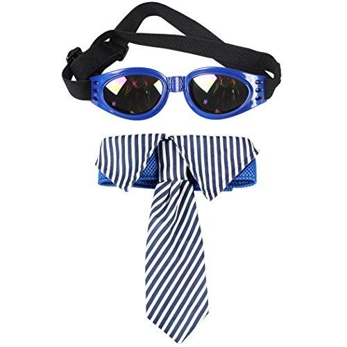 Haustier Krawatte, Legendog Hund Krawatte Verstellbare Gestreifte Hundefliege mit Haustier Sonnenbrille
