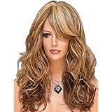 Tsnomore 3tonos mezclados de rubio castaño, peluca para mujer sintética, larga natural.