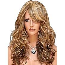 Tsnomore 3tonos mezclados de rubio castaño, peluca para mujer sintética, larga natural (rubio)