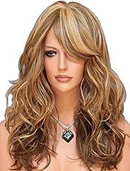 Idea Regalo - Falamka - Parrucca da donna con 3tonalità di colore (biondo e castano ramato), capelli mossi naturali