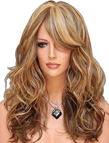Falamka - parrucca da donna con 3tonalità di colore (biondo e castano ramato), capelli mossi naturali