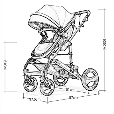 MU Comfortable Pushchairs Newborn Baby Stroller Pram Stroller Folding Convertible Carriage Luxury Bassinet Seat Infant Pushchair, Luxury Anti-Shock High View Carriage,87 Times,Captain America