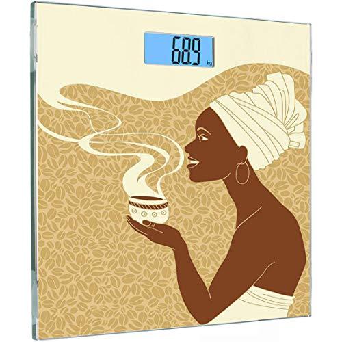 Afrikanischer Kakao (Ultra Slim Hochpräzise Sensoren Digitale Körperwaage Afrikanische Frau Gehärtetes Glas Personenwaage, Lächeln Glückliche Afro Lady mit heißer Kaffeetasse Samen Kakao Vintage, Braun Hellbraun Crea)